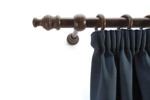 Laminated wooden curtain pole set walnut